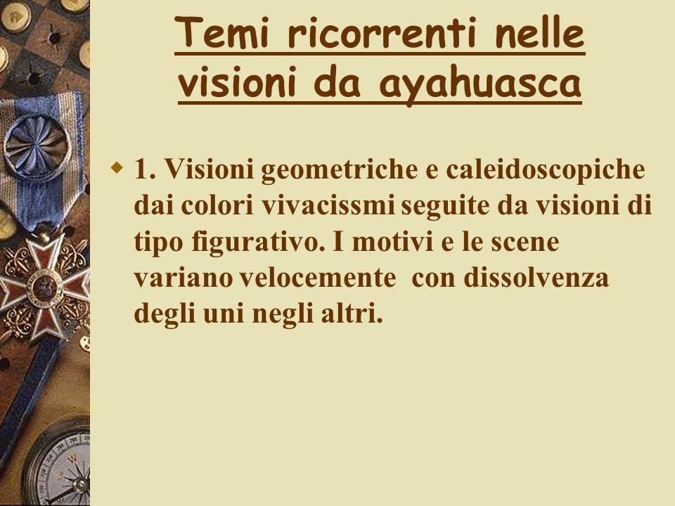 Temi ricorrenti nelle visioni da ayahuasca 1. Visioni geometriche e caleidoscopiche dai colori vivacissmi seguite da visioni di tipo figurativo. I mot