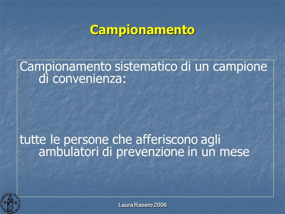 Laura Rasero 2006 Campionamento Campionamento sistematico di un campione di convenienza: tutte le persone che afferiscono agli ambulatori di prevenzio