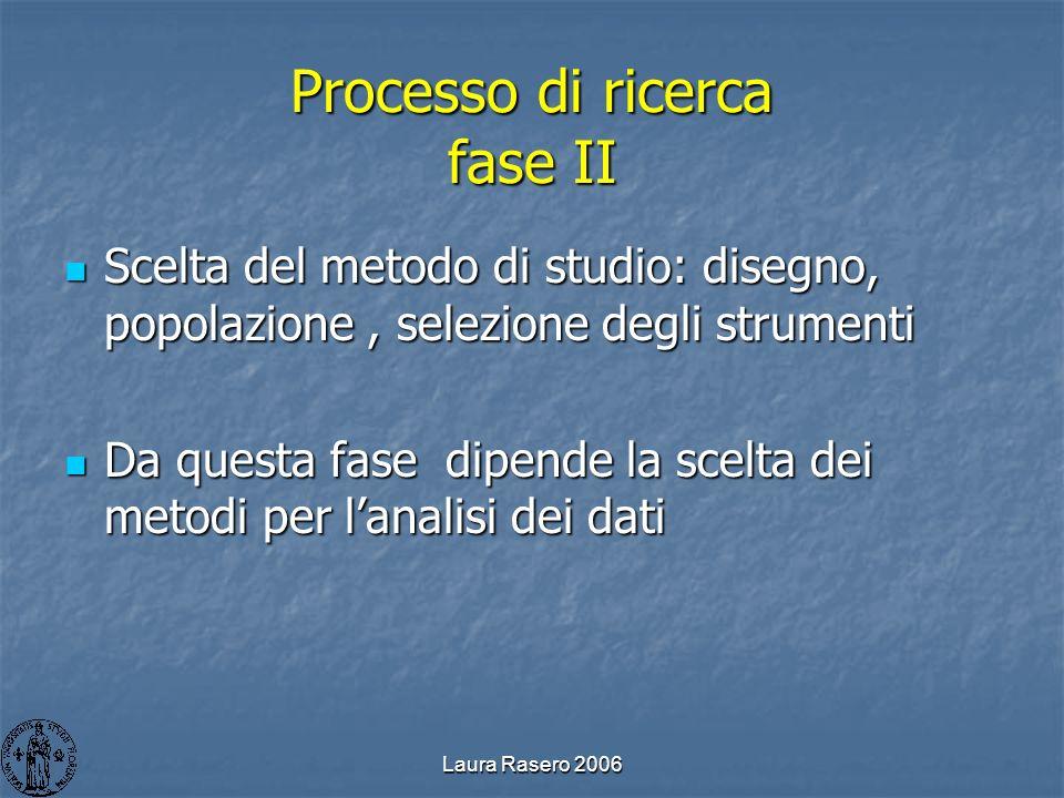 Laura Rasero 2006 Processo di ricerca fase II Scelta del metodo di studio: disegno, popolazione, selezione degli strumenti Scelta del metodo di studio