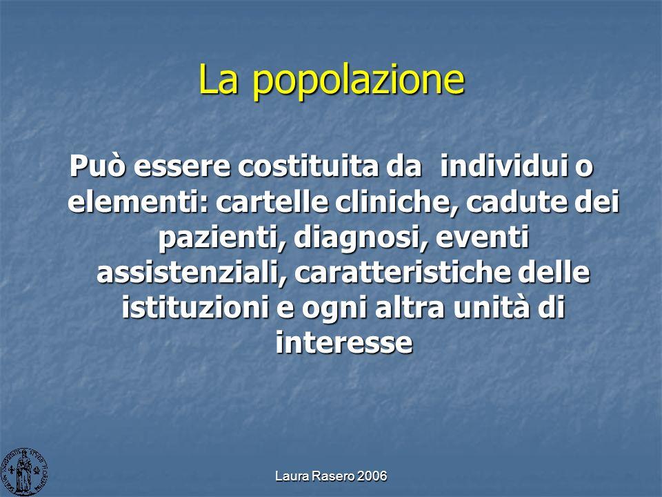 Laura Rasero 2006 La popolazione Può essere costituita da individui o elementi: cartelle cliniche, cadute dei pazienti, diagnosi, eventi assistenziali