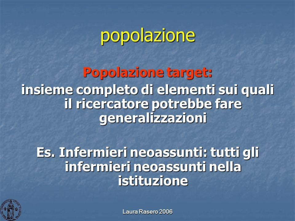 Laura Rasero 2006 popolazione Popolazione target: insieme completo di elementi sui quali il ricercatore potrebbe fare generalizzazioni Es. Infermieri