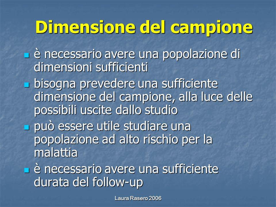 Laura Rasero 2006 Dimensione del campione è necessario avere una popolazione di dimensioni sufficienti è necessario avere una popolazione di dimension
