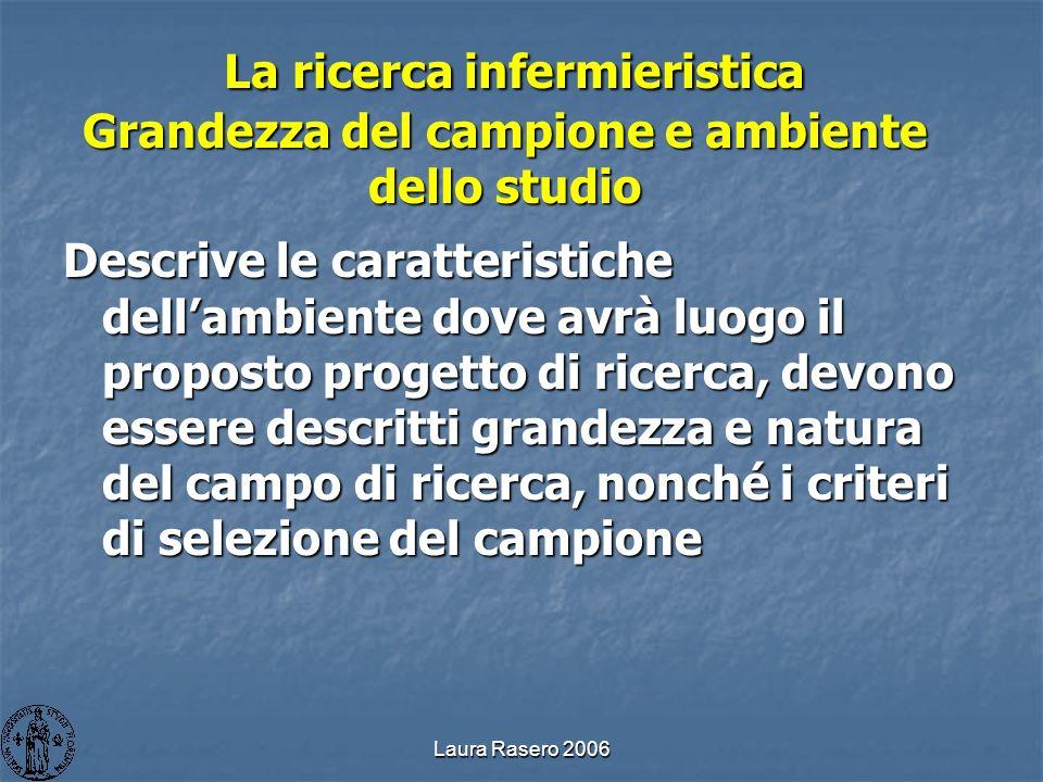 Laura Rasero 2006 La ricerca infermieristica Grandezza del campione e ambiente dello studio La ricerca infermieristica Grandezza del campione e ambien