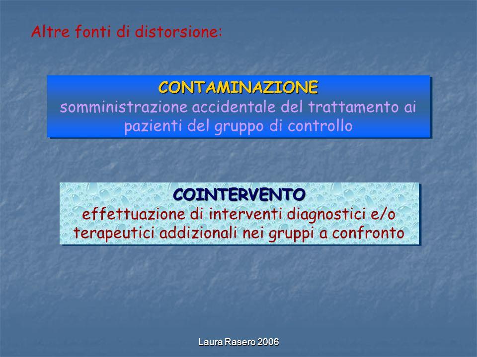 Laura Rasero 2006 Altre fonti di distorsione: CONTAMINAZIONE somministrazione accidentale del trattamento ai pazienti del gruppo di controlloCONTAMINA