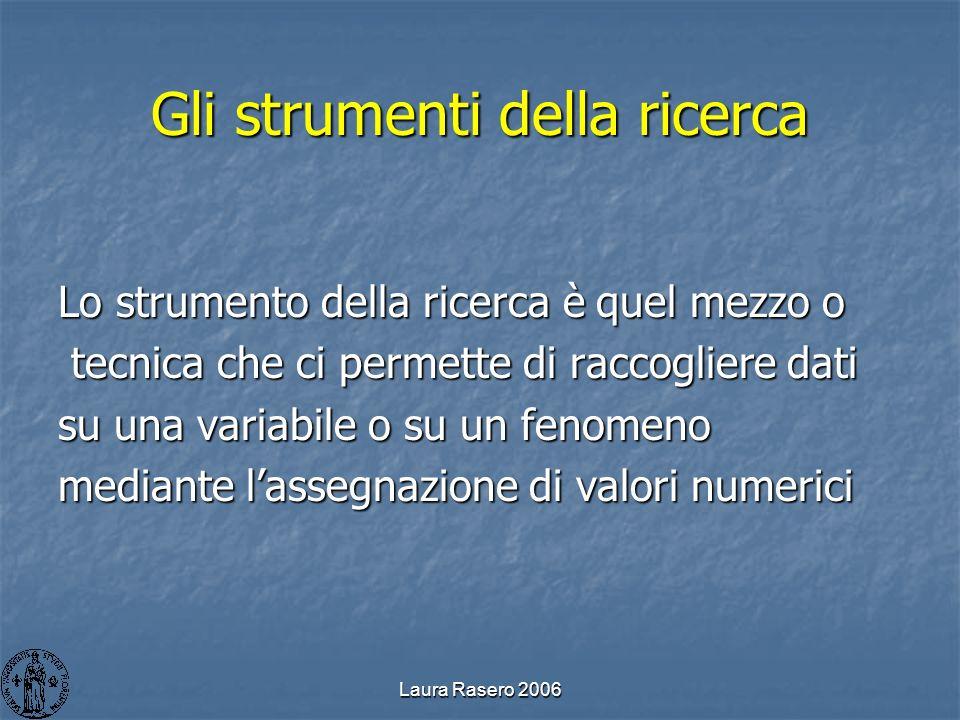 Laura Rasero 2006 Gli strumenti della ricerca Lo strumento della ricerca è quel mezzo o tecnica che ci permette di raccogliere dati tecnica che ci per