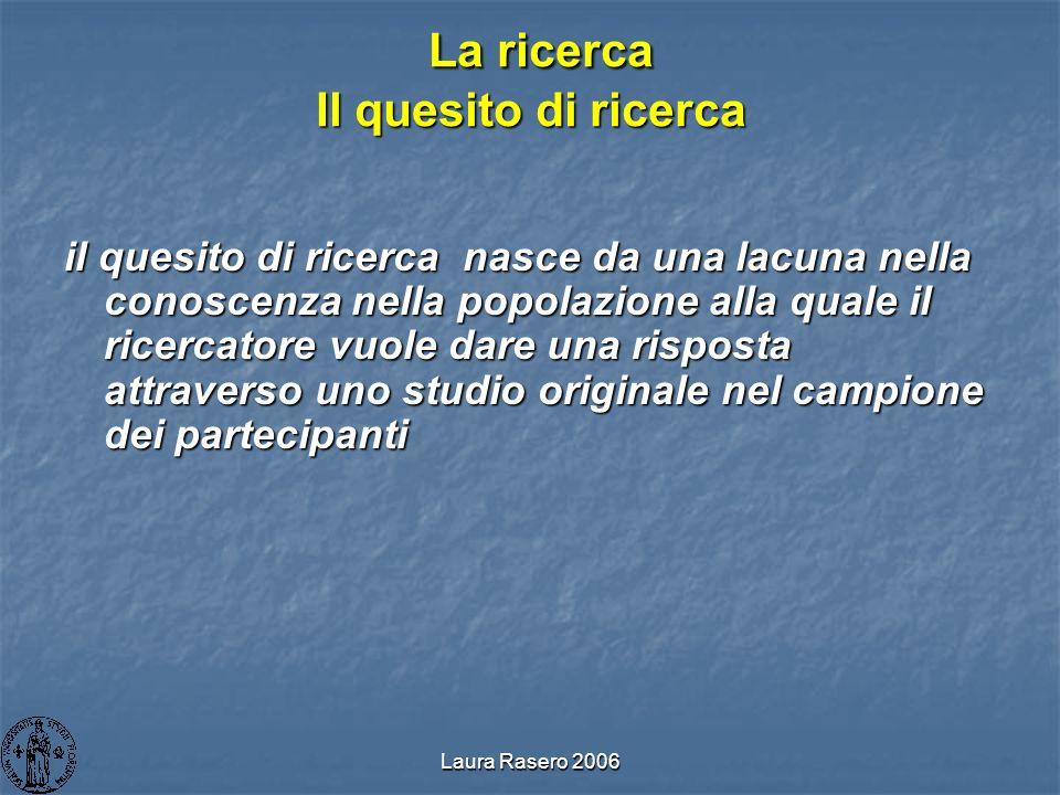 Laura Rasero 2006 La ricerca Il quesito di ricerca La ricerca Il quesito di ricerca il quesito di ricerca nasce da una lacuna nella conoscenza nella p