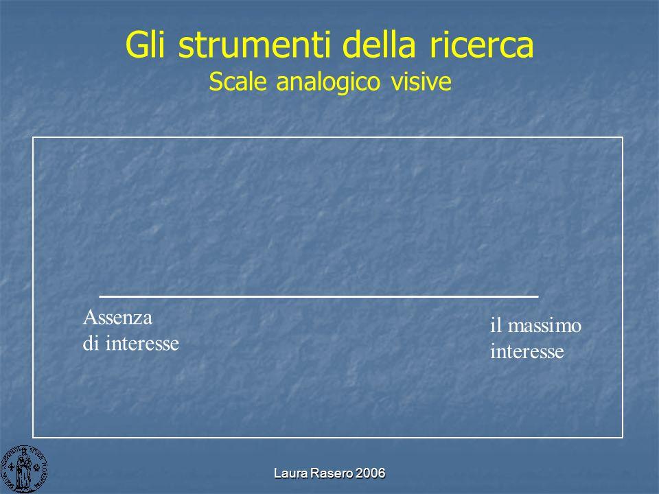 Laura Rasero 2006 Gli strumenti della ricerca Scale analogico visive Assenza di interesse il massimo interesse