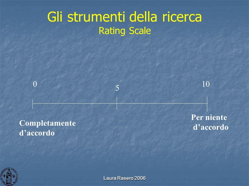 Laura Rasero 2006 Gli strumenti della ricerca Rating Scale Completamente daccordo 0 5 10 Per niente daccordo