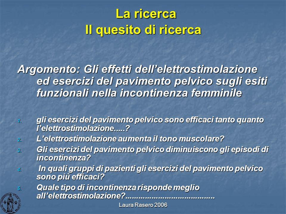 Laura Rasero 2006 La ricerca Il quesito di ricerca La ricerca Il quesito di ricerca Argomento: Gli effetti dellelettrostimolazione ed esercizi del pav