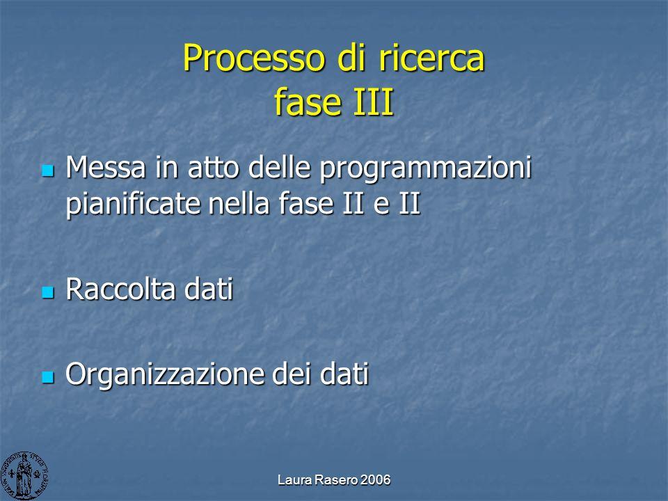 Laura Rasero 2006 Processo di ricerca fase III Messa in atto delle programmazioni pianificate nella fase II e II Messa in atto delle programmazioni pi