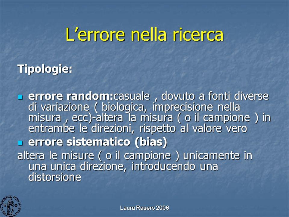Laura Rasero 2006 Lerrore nella ricerca Tipologie: errore random:casuale, dovuto a fonti diverse di variazione ( biologica, imprecisione nella misura,