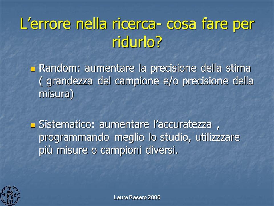 Laura Rasero 2006 Lerrore nella ricerca- cosa fare per ridurlo? Random: aumentare la precisione della stima ( grandezza del campione e/o precisione de