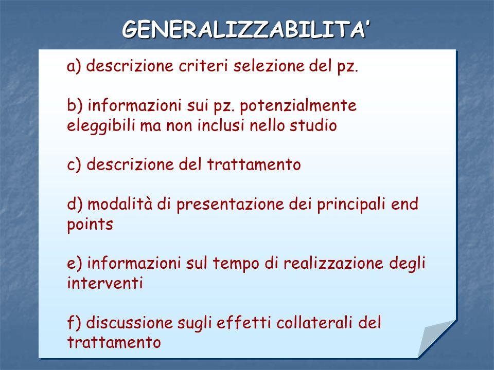 Laura Rasero 2006 GENERALIZZABILITA a) descrizione criteri selezione del pz. b) informazioni sui pz. potenzialmente eleggibili ma non inclusi nello st
