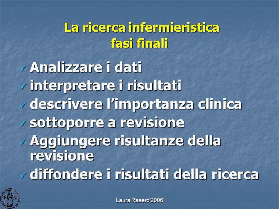 Laura Rasero 2006 La ricerca infermieristica fasi finali La ricerca infermieristica fasi finali Analizzare i dati Analizzare i dati interpretare i ris