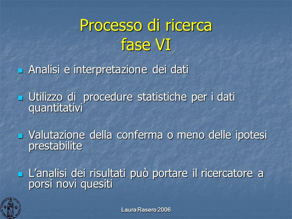 Laura Rasero 2006 Processo di ricerca fase VI Analisi e interpretazione dei dati Analisi e interpretazione dei dati Utilizzo di procedure statistiche