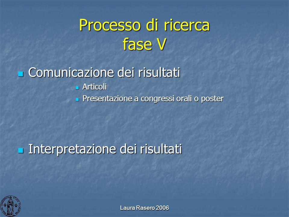 Laura Rasero 2006 Processo di ricerca fase V Comunicazione dei risultati Comunicazione dei risultati Articoli Articoli Presentazione a congressi orali