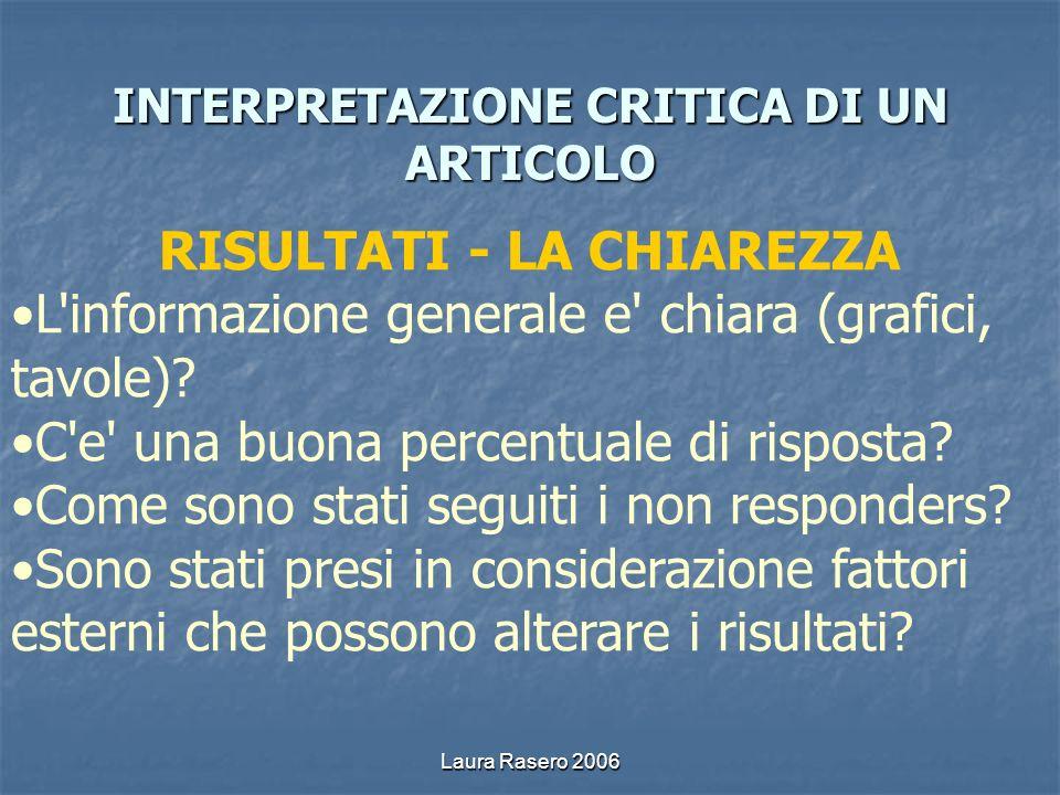 Laura Rasero 2006 INTERPRETAZIONE CRITICA DI UN ARTICOLO RISULTATI - LA CHIAREZZA L'informazione generale e' chiara (grafici, tavole)? C'e' una buona