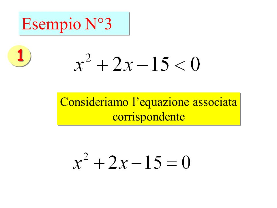 Esempio N°3 Consideriamo lequazione associata corrispondente Consideriamo lequazione associata corrispondente 1 1