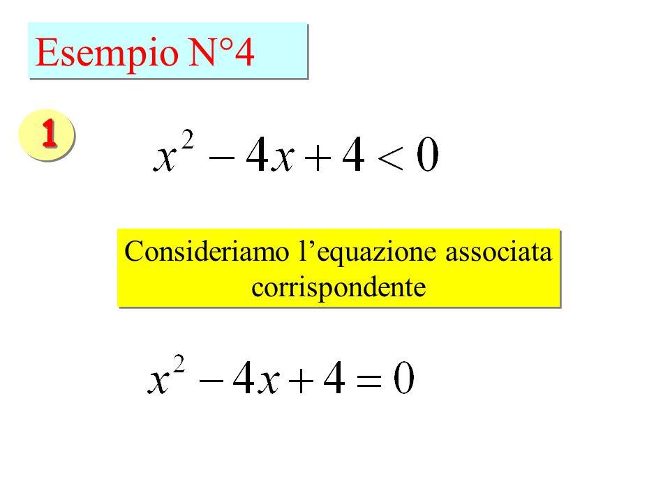Esempio N°4 Consideriamo lequazione associata corrispondente Consideriamo lequazione associata corrispondente 1 1