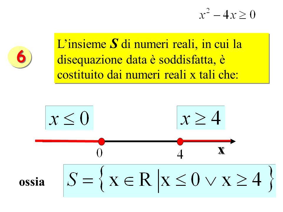 Linsieme S di numeri reali, in cui la disequazione data è soddisfatta, è costituito dai numeri reali x tali che: ossia x x 6 6