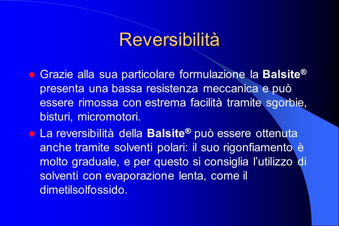 Reversibilità Grazie alla sua particolare formulazione la Balsite ® presenta una bassa resistenza meccanica e può essere rimossa con estrema facilità