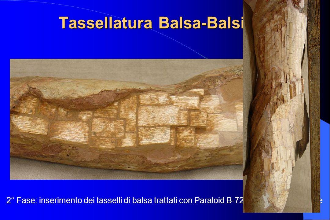 Tassellatura Balsa-Balsite 2° Fase: inserimento dei tasselli di balsa trattati con Paraloid B-72 e incollati con Balsite