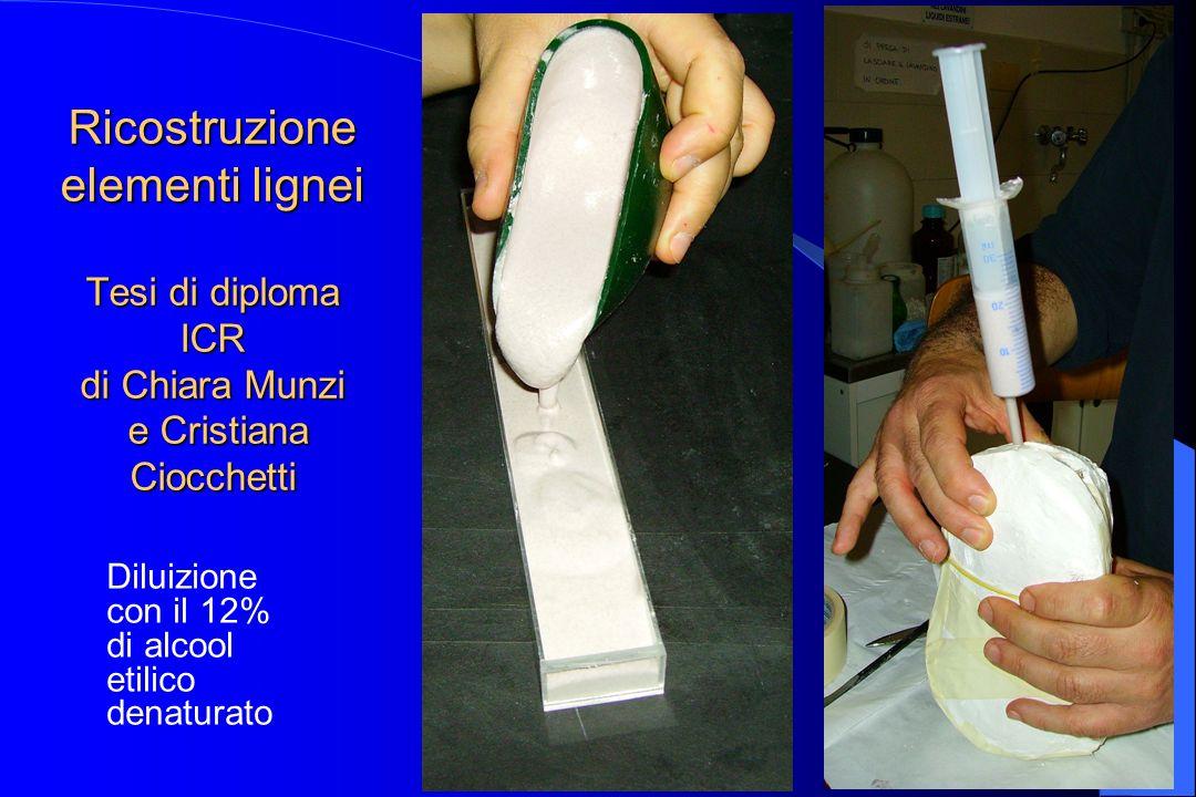 Ricostruzione elementi lignei Tesi di diploma ICR di Chiara Munzi e Cristiana Ciocchetti Diluizione con il 12% di alcool etilico denaturato