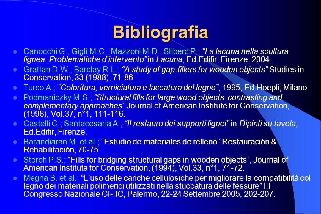 Bibliografia Canocchi G., Gigli M.C., Mazzoni M.D., Stiberc P.; La lacuna nella scultura lignea. Problematiche dintervento in Lacuna, Ed.Edifir, Firen