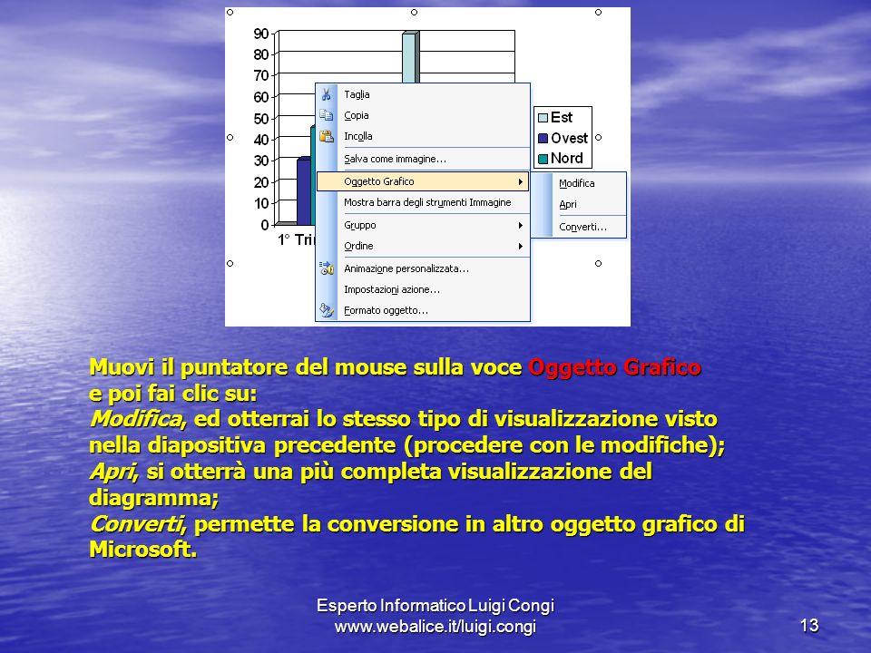 Esperto Informatico Luigi Congi www.webalice.it/luigi.congi13 Muovi il puntatore del mouse sulla voce Oggetto Grafico e poi fai clic su: Modifica, ed otterrai lo stesso tipo di visualizzazione visto nella diapositiva precedente (procedere con le modifiche); Apri, si otterrà una più completa visualizzazione del diagramma; Converti, permette la conversione in altro oggetto grafico di Microsoft.