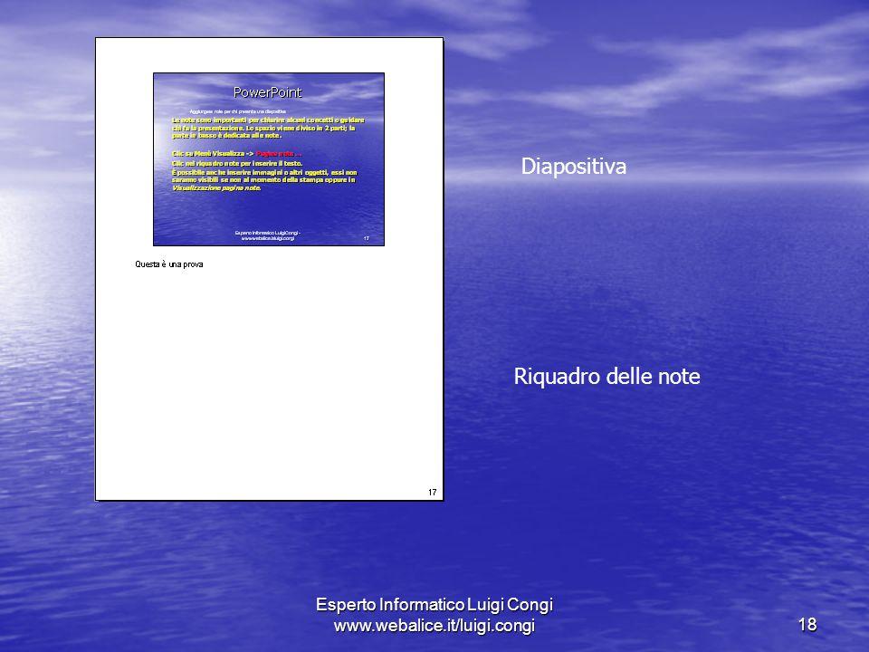 Esperto Informatico Luigi Congi www.webalice.it/luigi.congi18 Diapositiva Riquadro delle note