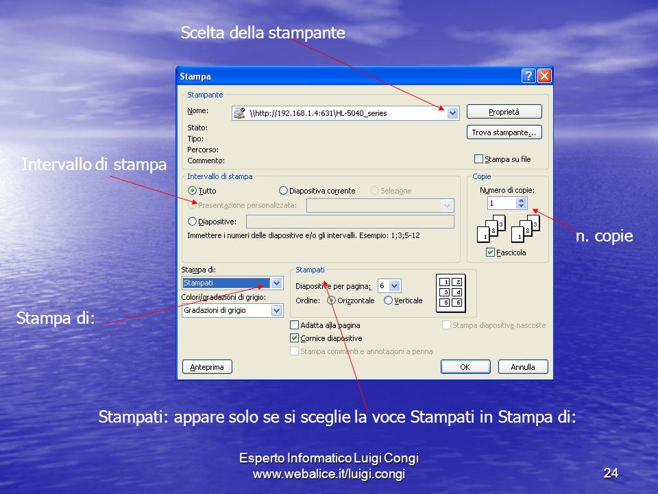 Esperto Informatico Luigi Congi www.webalice.it/luigi.congi24 Scelta della stampante Intervallo di stampa Stampa di: Stampati: appare solo se si sceglie la voce Stampati in Stampa di: n.