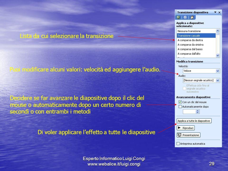 Esperto Informatico Luigi Congi www.webalice.it/luigi.congi29 Lista da cui selezionare la transizione Puoi modificare alcuni valori: velocità ed aggiungere laudio.