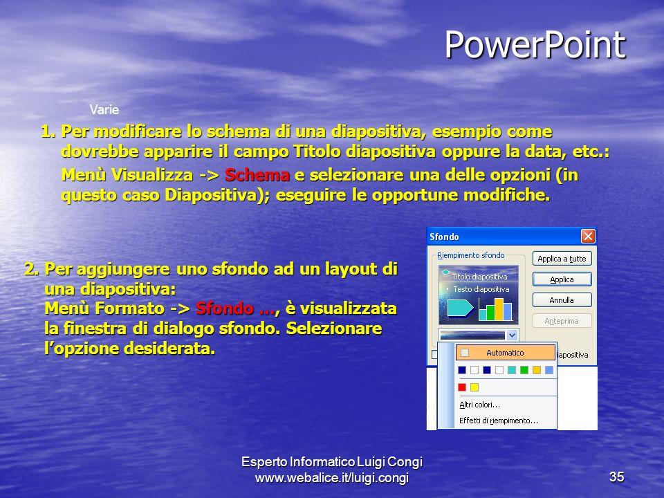 Esperto Informatico Luigi Congi www.webalice.it/luigi.congi35 PowerPoint Varie 1.