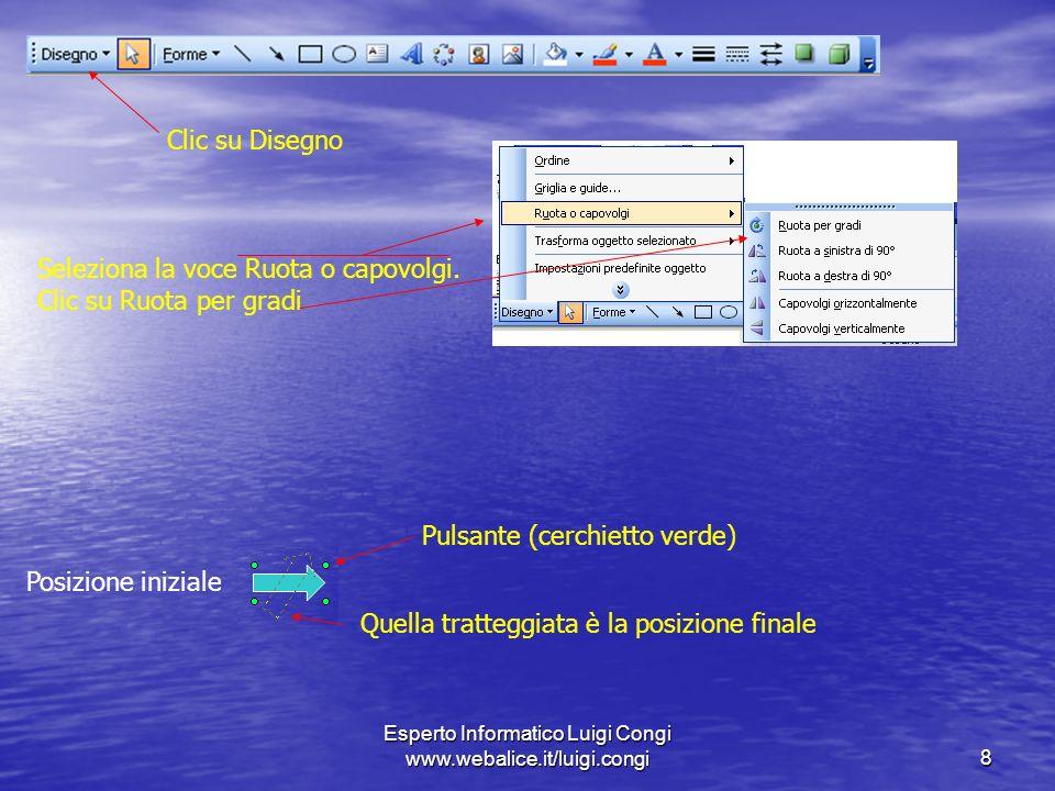Esperto Informatico Luigi Congi www.webalice.it/luigi.congi8 Clic su Disegno Seleziona la voce Ruota o capovolgi.