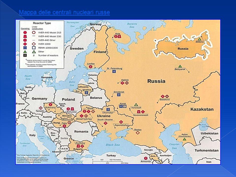 Mappa delle centrali nucleari russe
