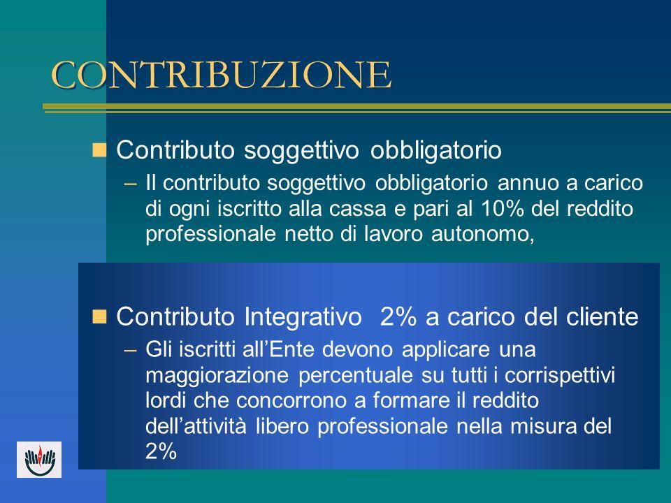 CONTRIBUZIONE Contributo soggettivo obbligatorio –Il contributo soggettivo obbligatorio annuo a carico di ogni iscritto alla cassa e pari al 10% del r