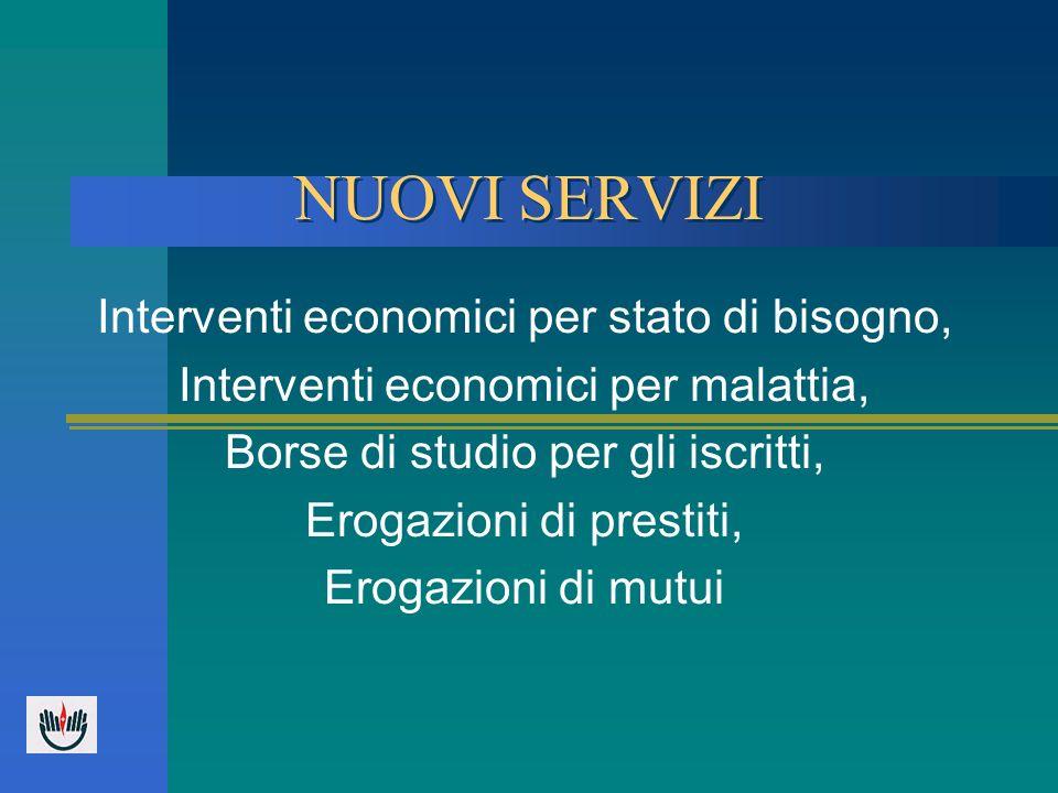 NUOVI SERVIZI Interventi economici per stato di bisogno, Interventi economici per malattia, Borse di studio per gli iscritti, Erogazioni di prestiti,