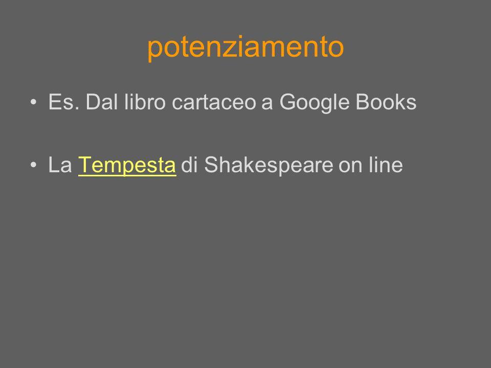 potenziamento Es. Dal libro cartaceo a Google Books La Tempesta di Shakespeare on lineTempesta