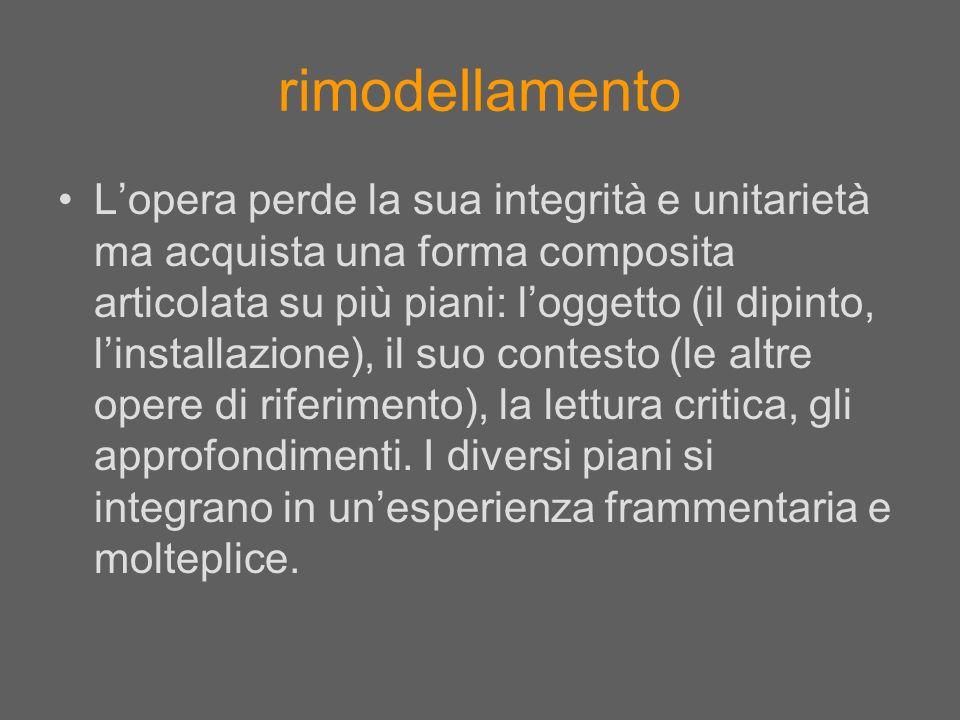 rimodellamento Lopera perde la sua integrità e unitarietà ma acquista una forma composita articolata su più piani: loggetto (il dipinto, linstallazion
