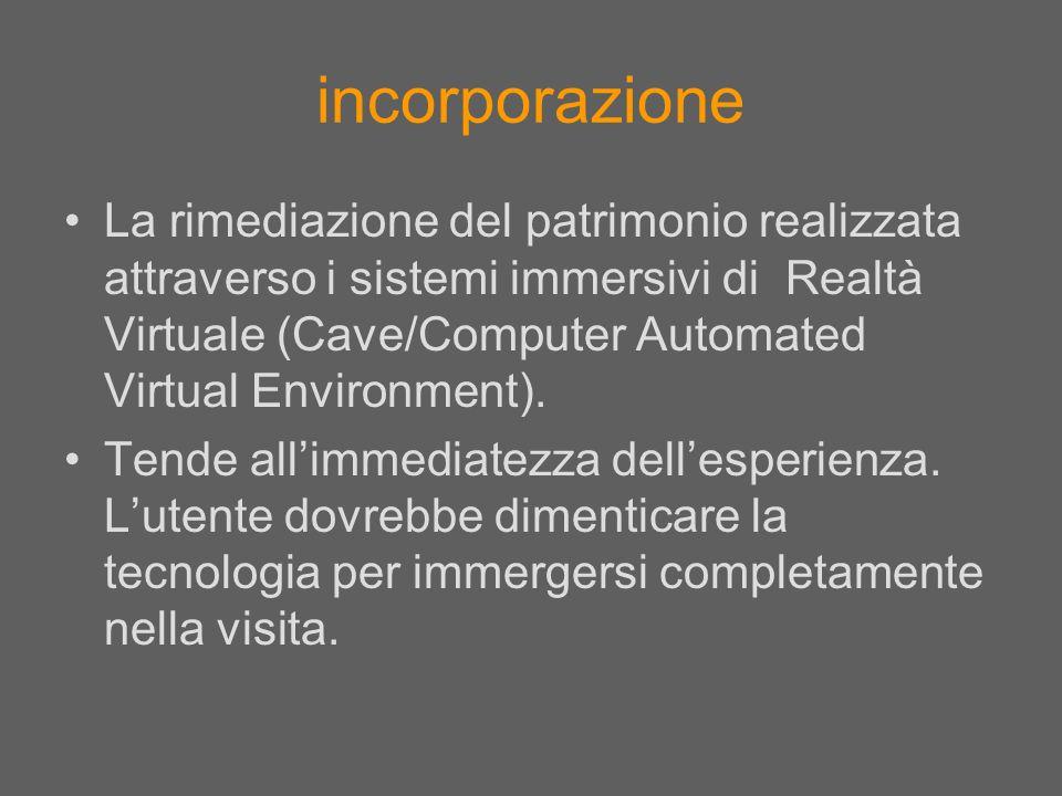 La rimediazione del patrimonio realizzata attraverso i sistemi immersivi di Realtà Virtuale (Cave/Computer Automated Virtual Environment). Tende allim