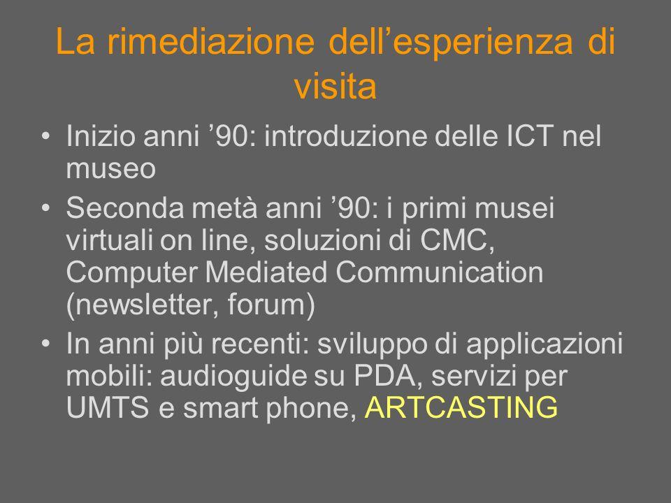 La rimediazione dellesperienza di visita Inizio anni 90: introduzione delle ICT nel museo Seconda metà anni 90: i primi musei virtuali on line, soluzi