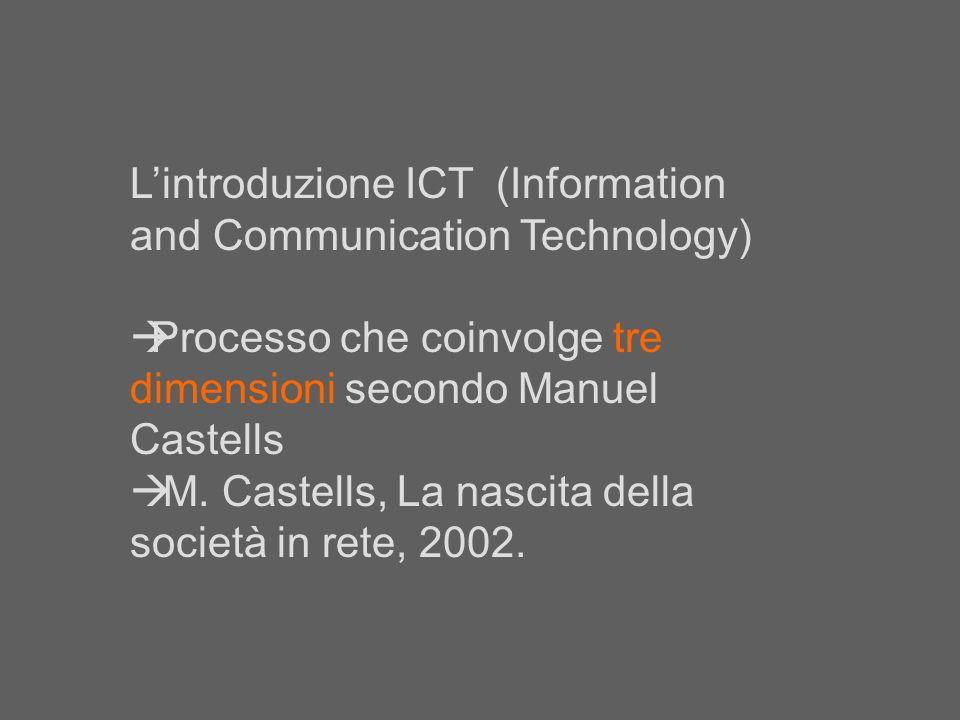 Lintroduzione ICT (Information and Communication Technology) Processo che coinvolge tre dimensioni secondo Manuel Castells M. Castells, La nascita del