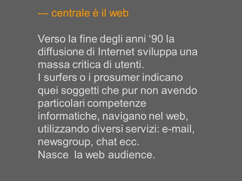 --- centrale è il web Verso la fine degli anni 90 la diffusione di Internet sviluppa una massa critica di utenti. I surfers o i prosumer indicano quei