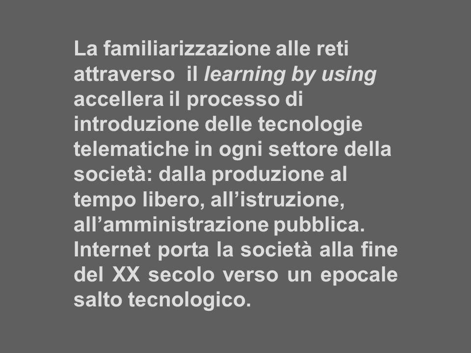 La familiarizzazione alle reti attraverso il learning by using accellera il processo di introduzione delle tecnologie telematiche in ogni settore dell