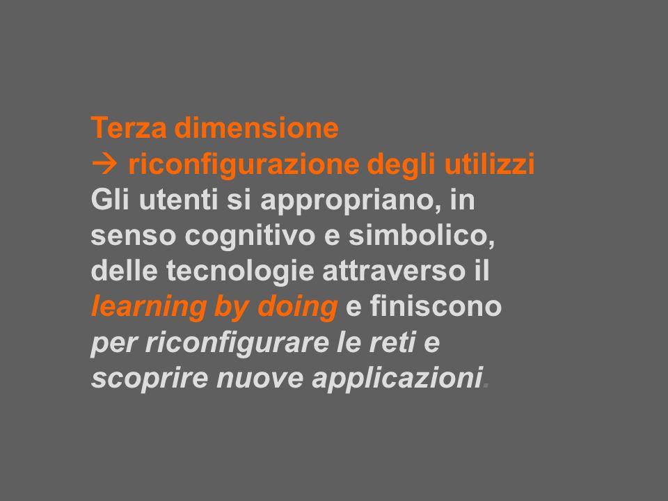 Terza dimensione riconfigurazione degli utilizzi Gli utenti si appropriano, in senso cognitivo e simbolico, delle tecnologie attraverso il learning by