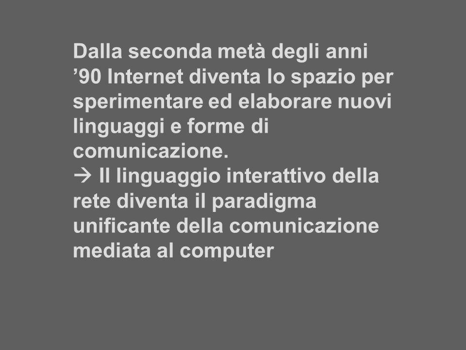 Dalla seconda metà degli anni 90 Internet diventa lo spazio per sperimentare ed elaborare nuovi linguaggi e forme di comunicazione. Il linguaggio inte
