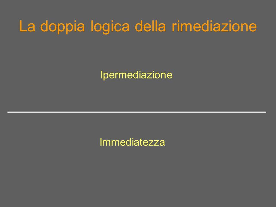 La doppia logica della rimediazione Immediatezza Ipermediazione