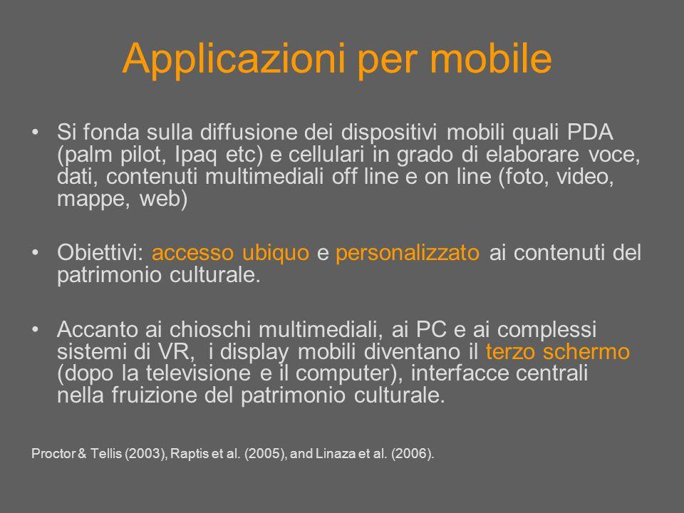 Applicazioni per mobile Si fonda sulla diffusione dei dispositivi mobili quali PDA (palm pilot, Ipaq etc) e cellulari in grado di elaborare voce, dati
