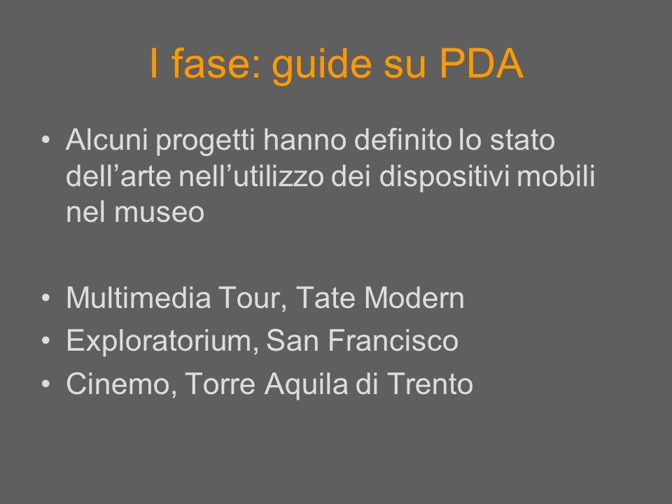 I fase: guide su PDA Alcuni progetti hanno definito lo stato dellarte nellutilizzo dei dispositivi mobili nel museo Multimedia Tour, Tate Modern Explo