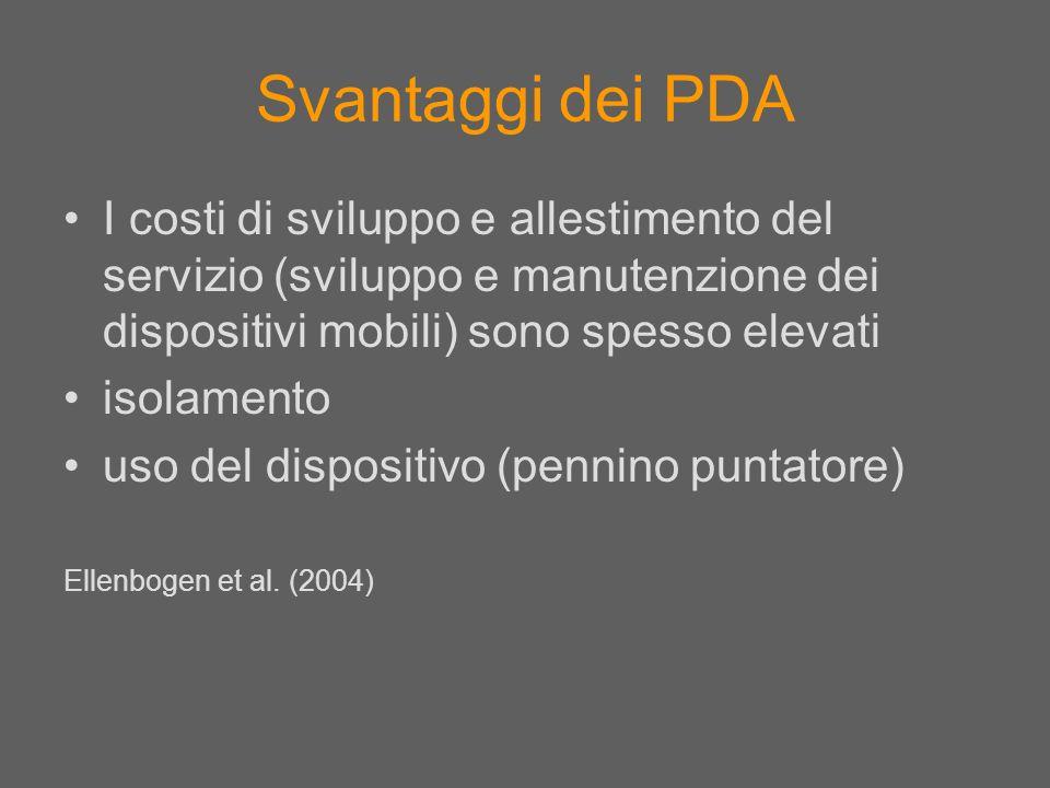 Svantaggi dei PDA I costi di sviluppo e allestimento del servizio (sviluppo e manutenzione dei dispositivi mobili) sono spesso elevati isolamento uso